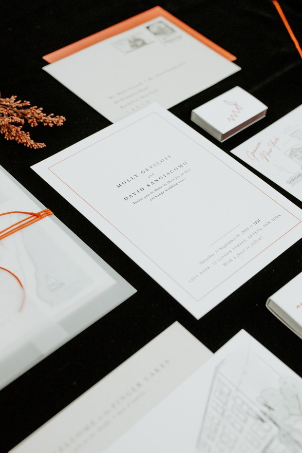 simple and chic wedding invitation suite