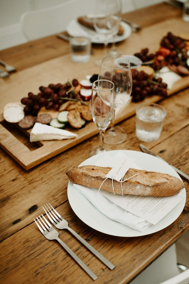 baguette place card and charcuterie board