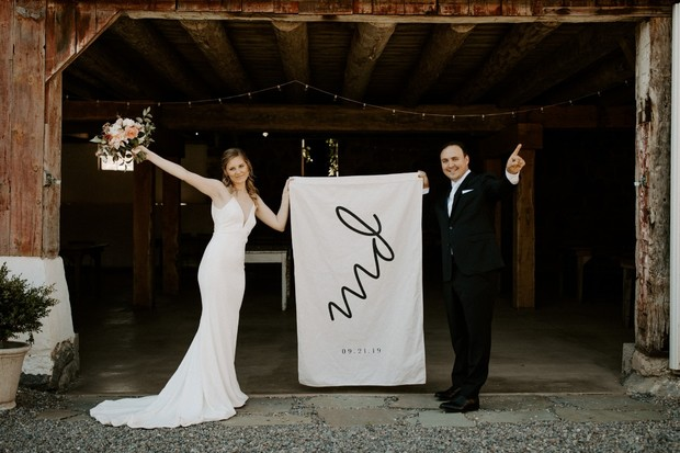 monogrammed wedding flag