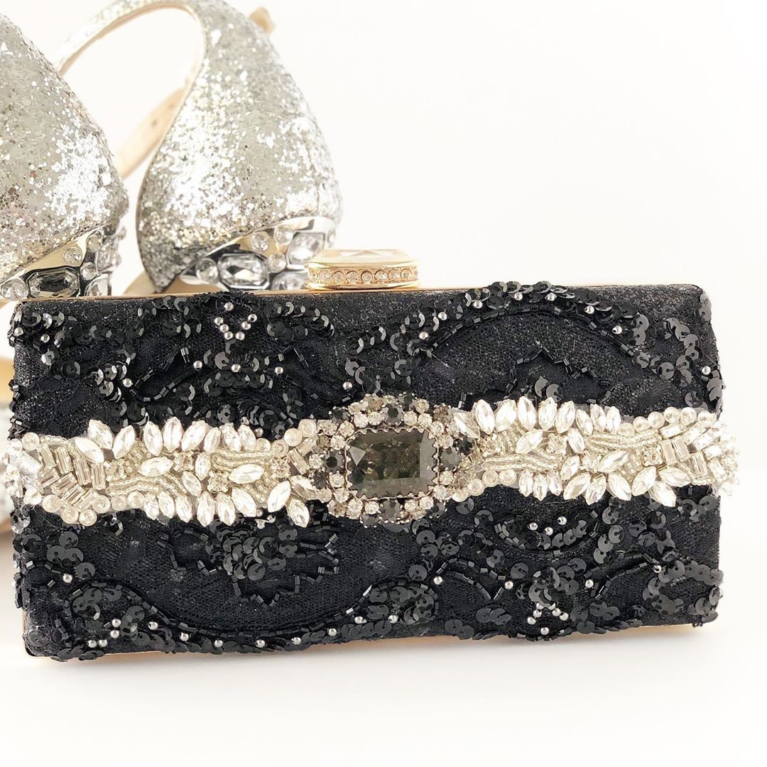 So excited for this design!!! It's the start of my New Glam Evening clutch collection. Beautiful black sequin laces with the most