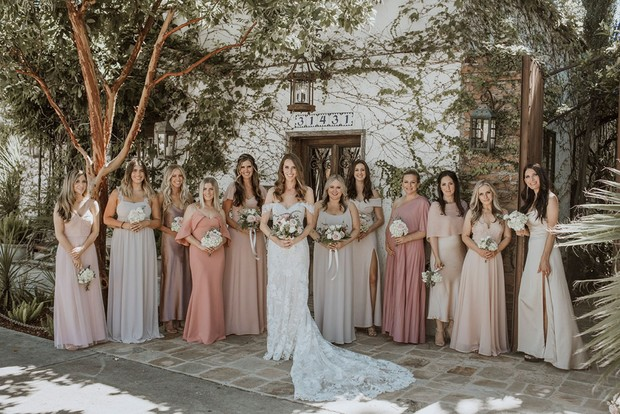 blush pink and ivory bridesmaid dresses