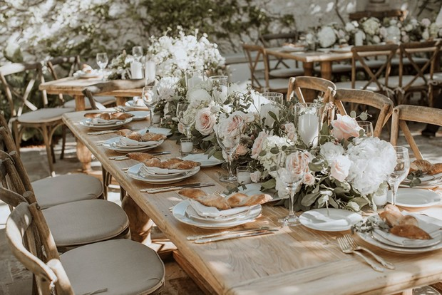 rustic white and blush Italian inspired wedding table decor