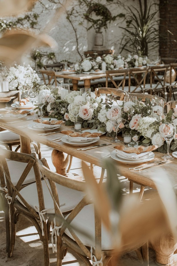 romantic and rustic Italian inspired wedding reception