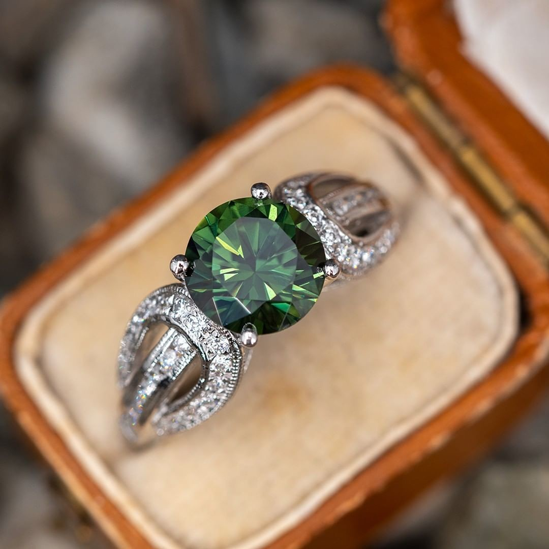 2.2 Carat Green Sapphire Engagement Ring. Tap photo for link. Sku A16630.