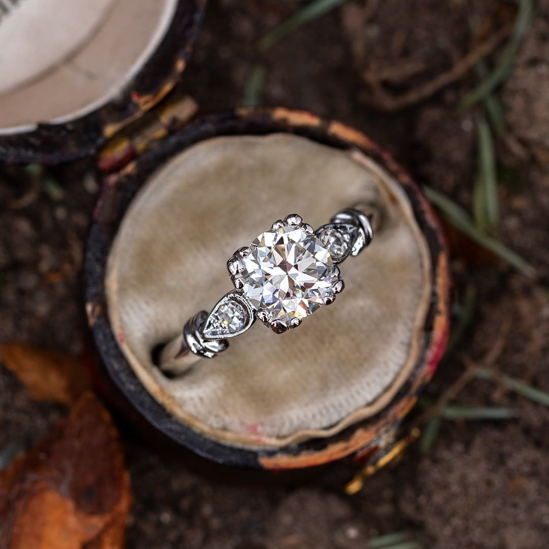 Vintage Engagement Ring w/ Transitional Cut Diamond. Tap photo for a link. Sku AE60272.
