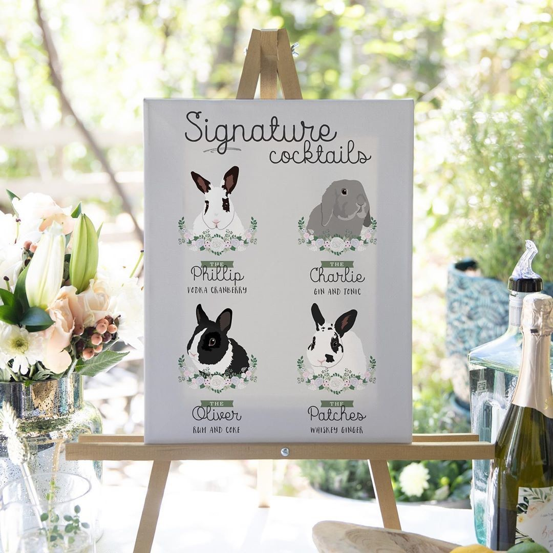 ⁠Aren't these four of the cutest bunnies you ever did see?? 🐰 Our custom cocktail signs are NOT limited to just cats and dogs