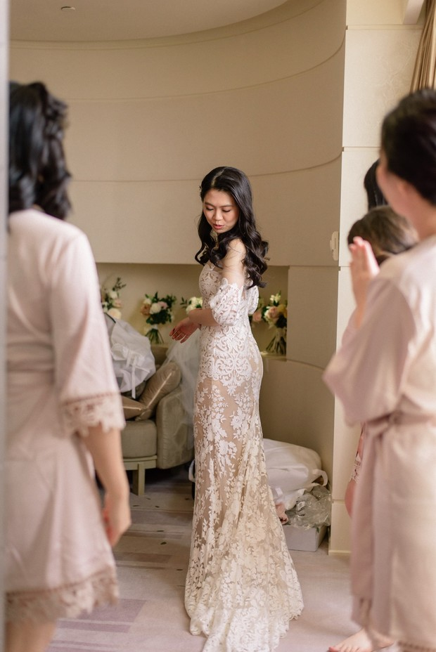 white and nude wedding dress