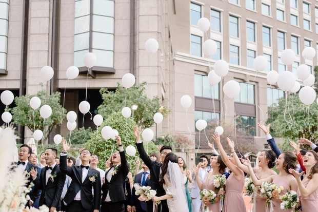 ceremony with balloon release
