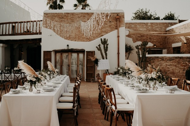 outdoor wedding reception in Ibiza