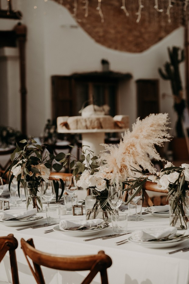 Pampas grass centerpiece for wedding