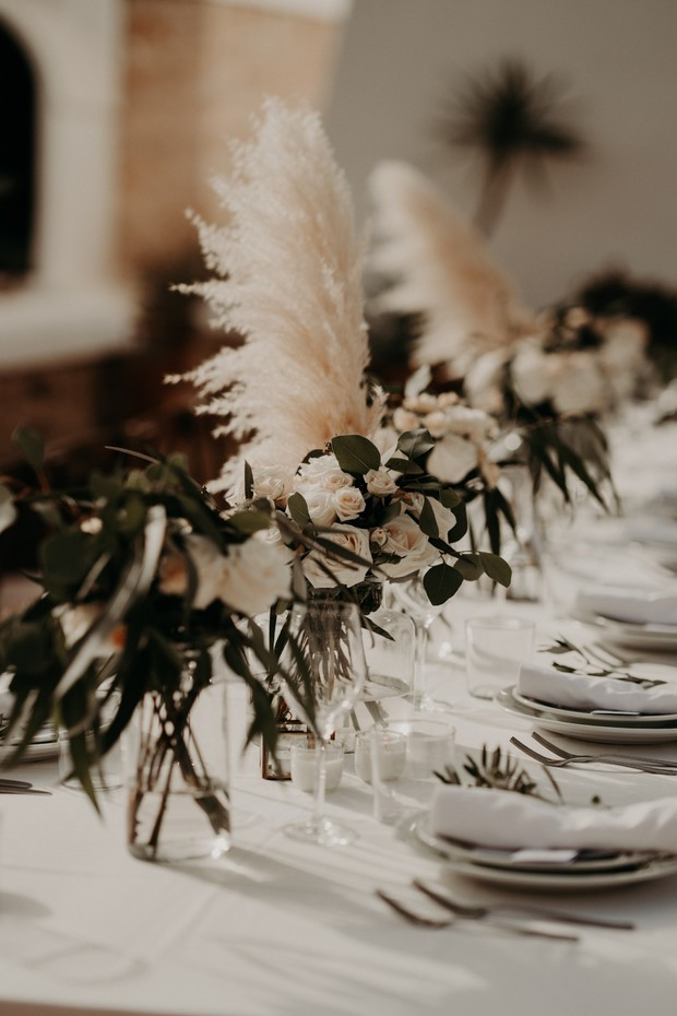 floral and pampas grass centerpieces