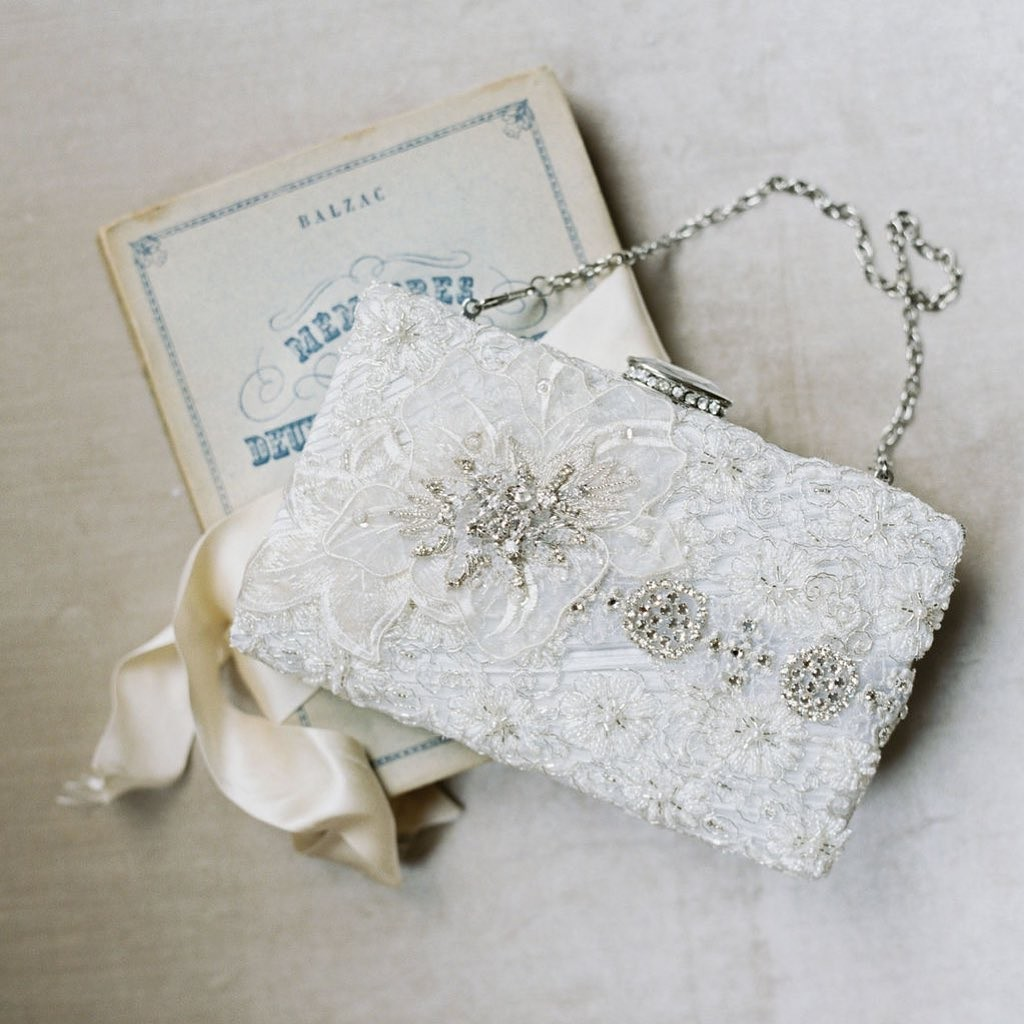 Pretty little sparkle details make this a perfect bridal clutch.