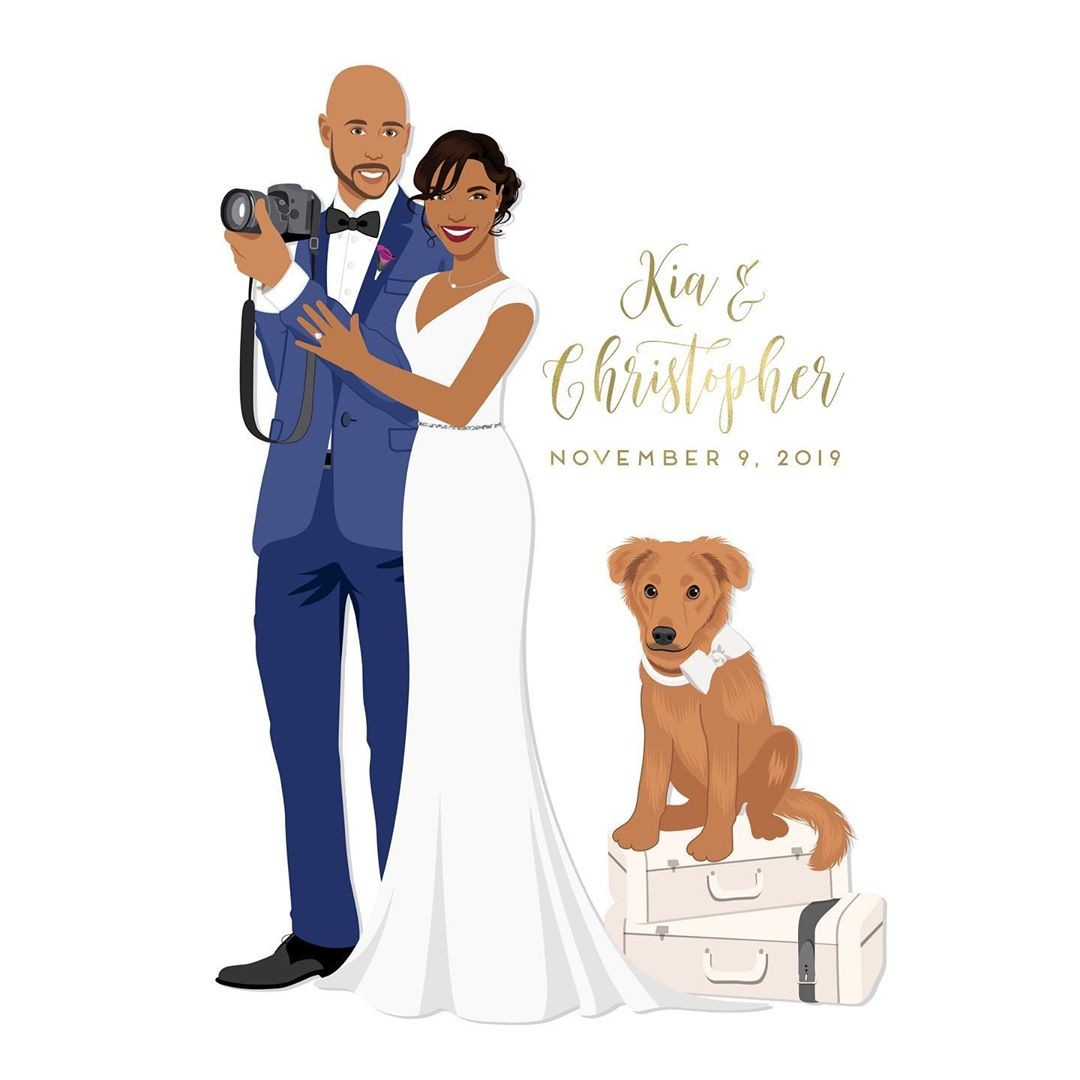 ⁠Including hobbies (and fur babies) into your custom design is a MUST! This sweet couple loves their pup, traveling, and snapping