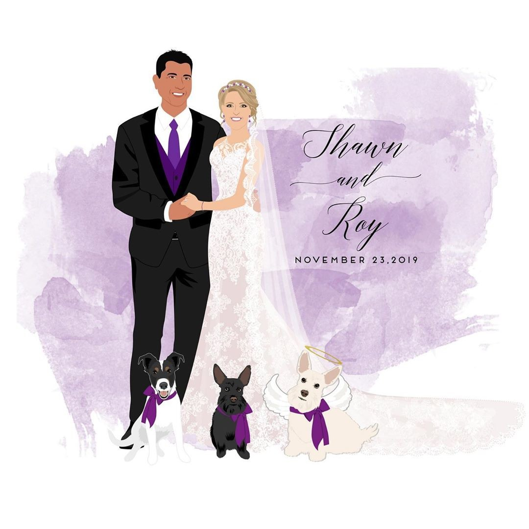 Shawn and Roy had such a gorgeous purple palette for their wedding, from the watercolor splash to the groom's tie, even the dogs' precious