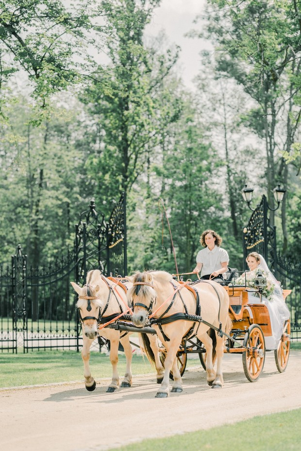 here comes the bride in a horse drawn carriage