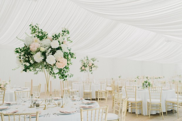glam white gold and blush tented wedding reception