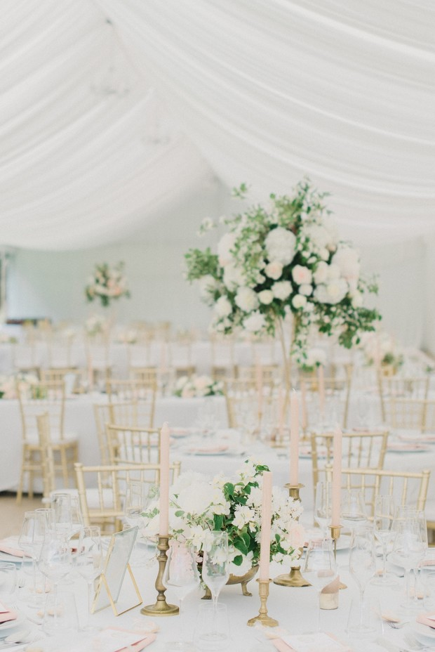 gold blush and white chic tented wedding reception