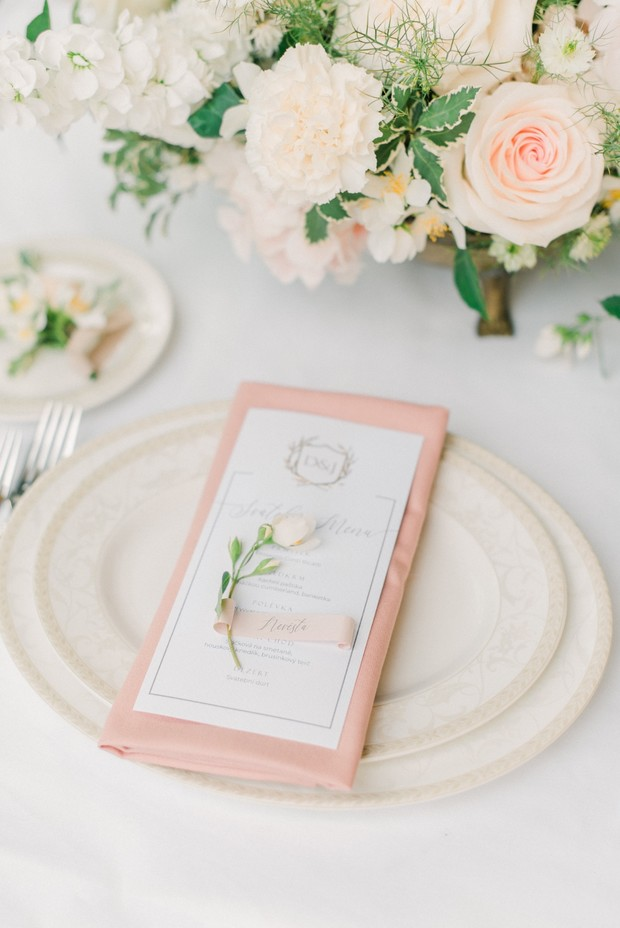 blush and white romantic spring wedding place setting