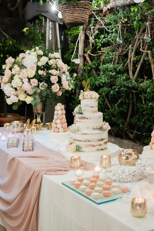 blush and white dessert table