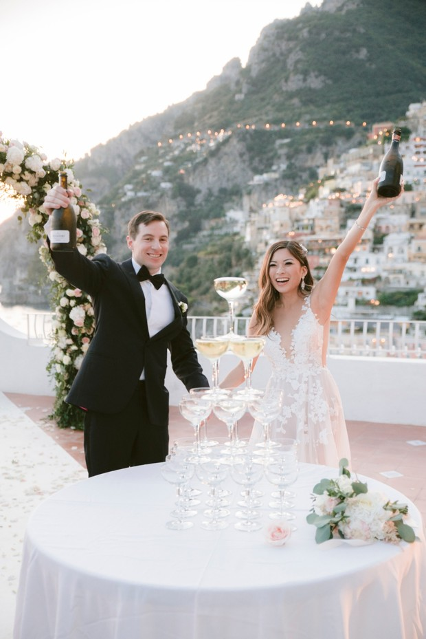 champagne tower wedding reception