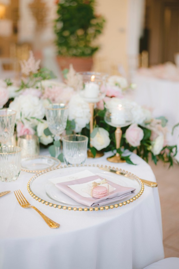 romantic pink and gold place setting