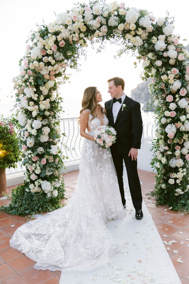 romantic floral arch for your destination wedding in Italy
