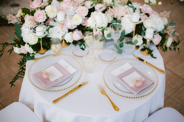 gold and pink wedding sweetheart table