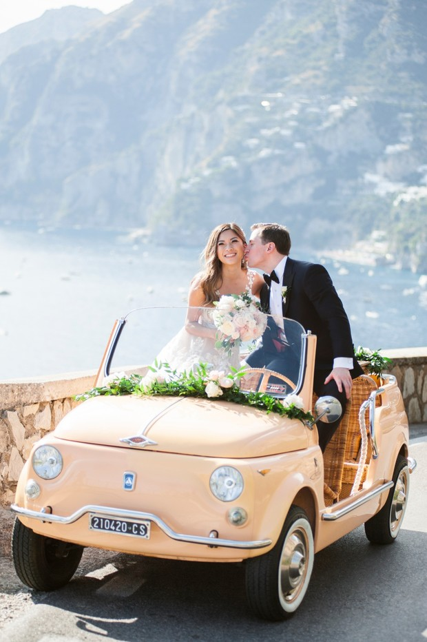 cute little vintage wedding car in Italy