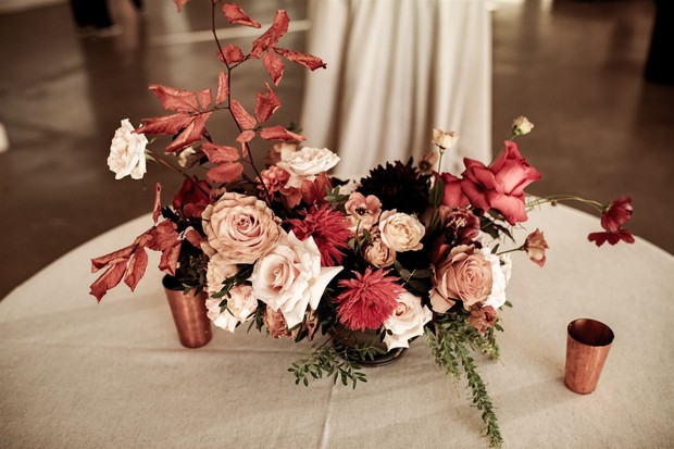 warm color wedding floral decor