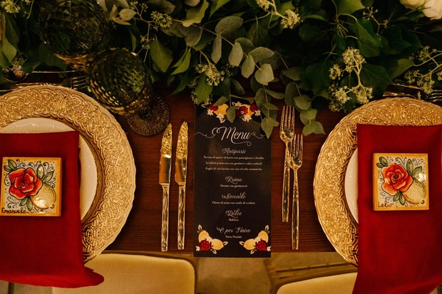 gold and red wedding seating decor