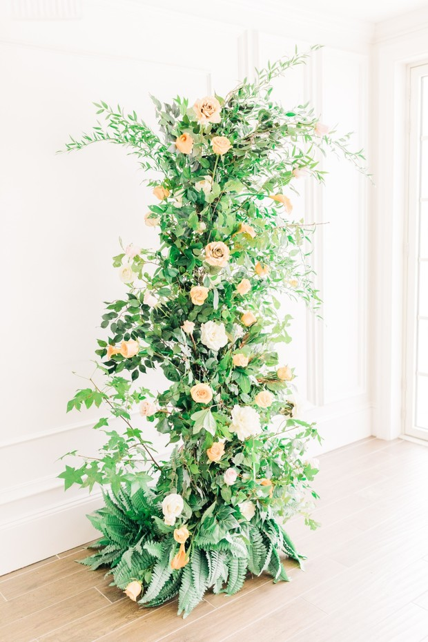 free standing floral column for your wedding ceremony