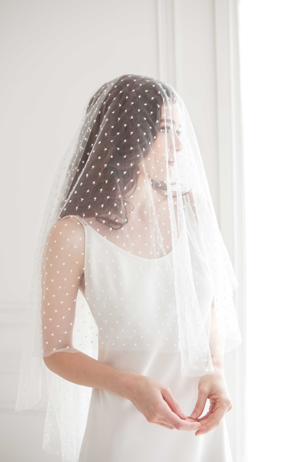 Wedding veil with blush! Check out more on our website!