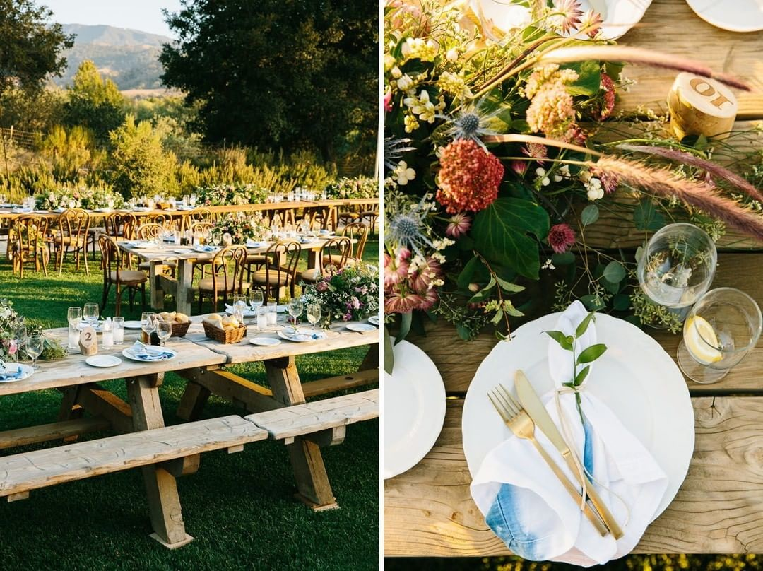 Boho chic is such a stunning look for this amazing vineyard weddin. Bring us back!⁣