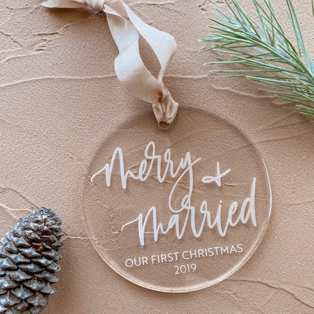 Merry + Married ornament gift