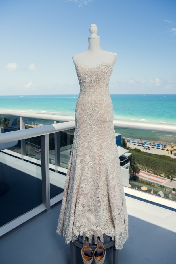 Strapless wedding dress by Watters