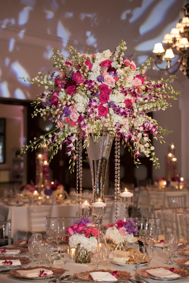 colorful floral centerpiece for wedding