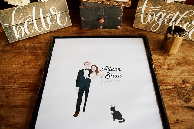 What a beautiful display for this couple's custom guestbook! The first thing you want your guests to do at your reception is sign