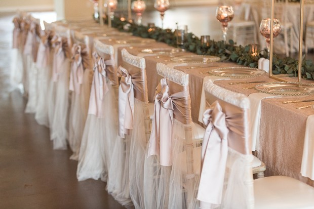 wedding party table in blush and champagne