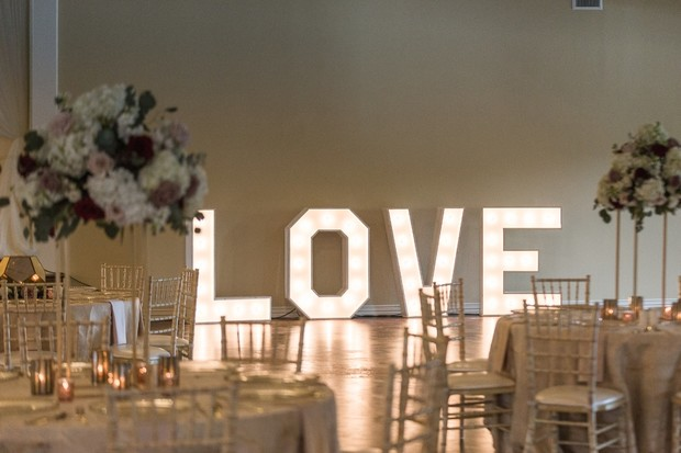 giant love marquee sign