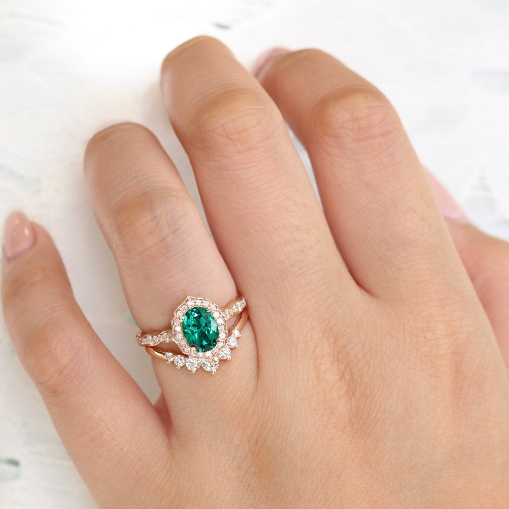 Celebrate your love with this beautiful emerald diamond wedding set during the holiday ~ This stunningly unique and elegant emerald