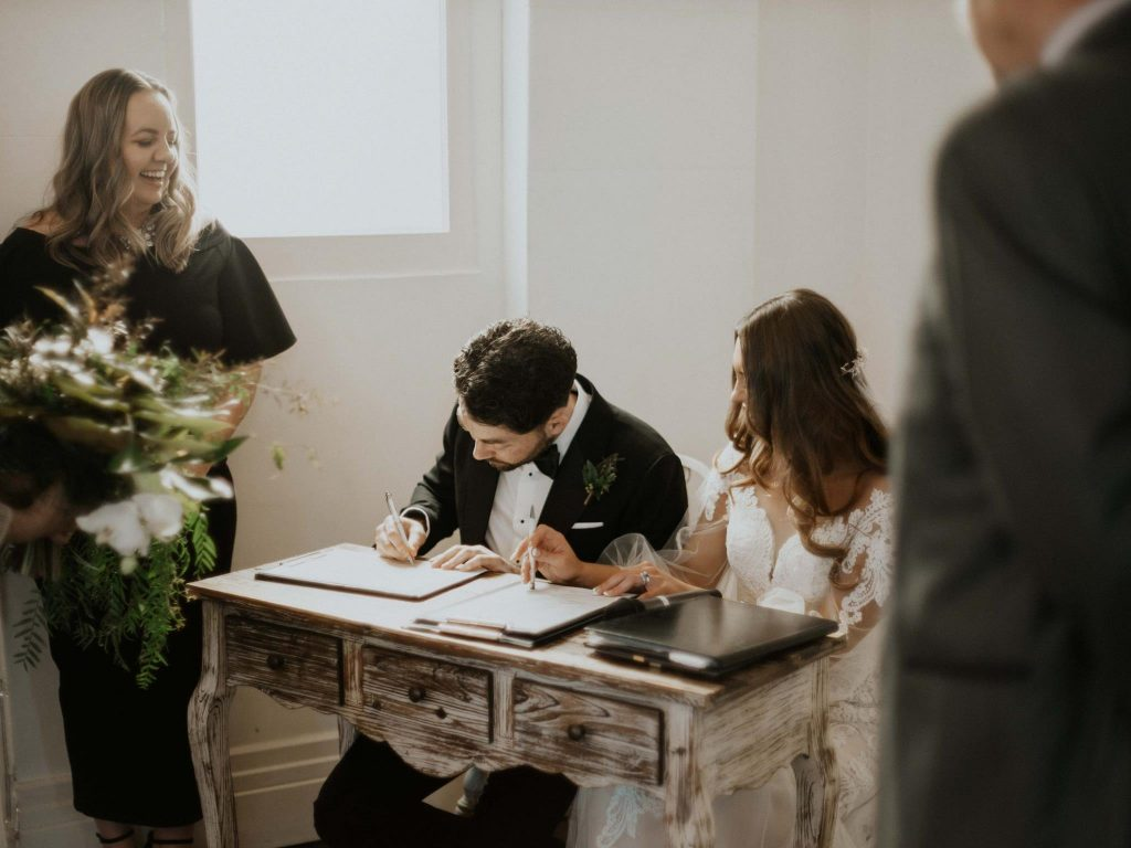 In love with this vintage style signing table at this beautiful boho Brisbane wedding with Celebrant Cara Hodge of Jamie + Cara - Brisbane