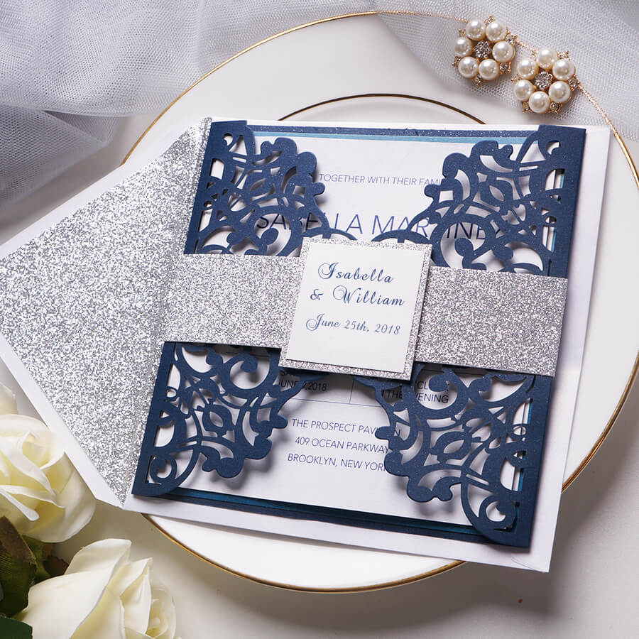 Modern simple invitation features silver glitter bally band, lending a touch of classic.