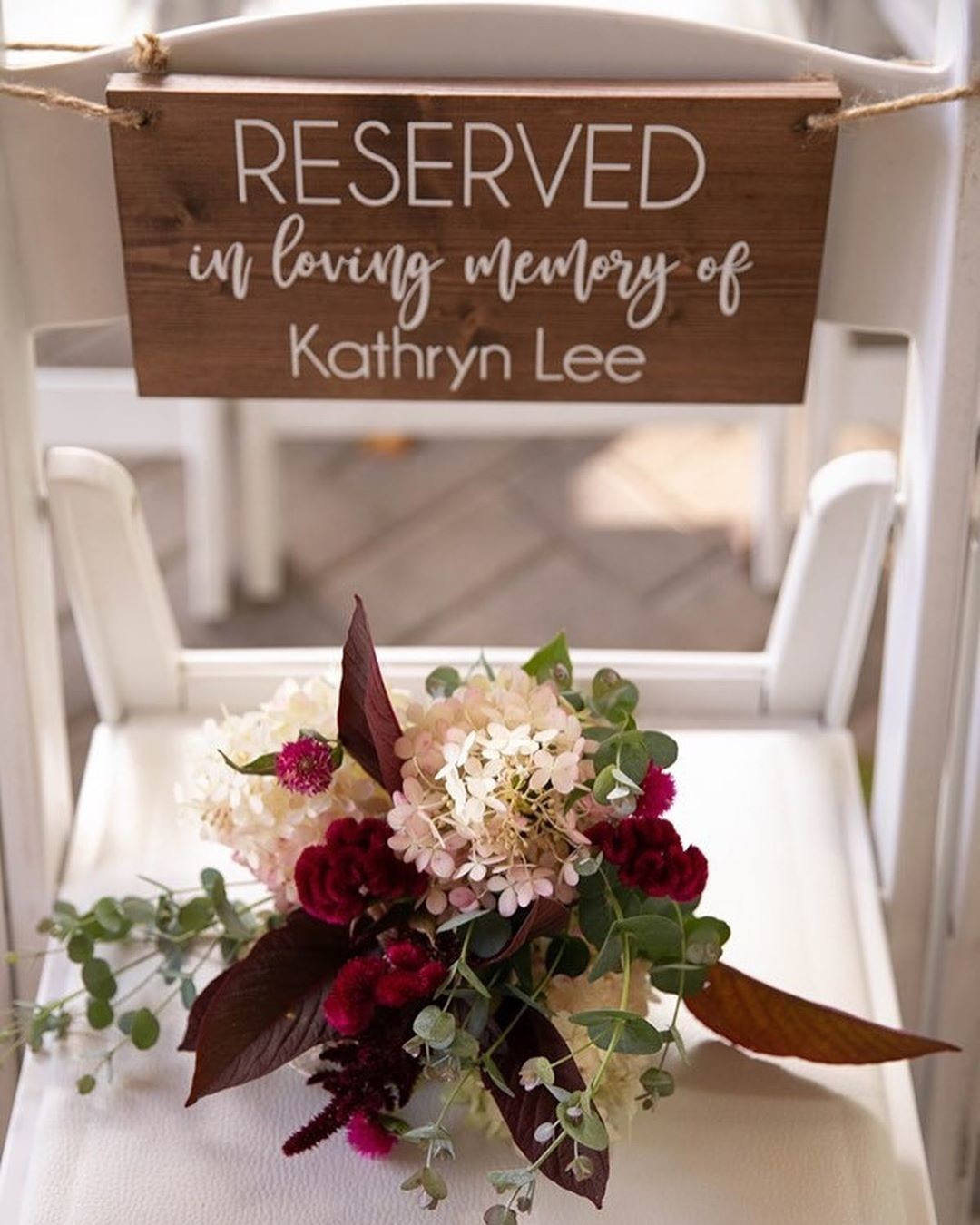 How sweet is this memorial for the ceremony? Our bride and groom wanted to have their mothers (represented by each of their favorite