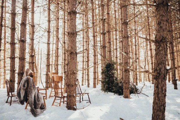 enchanted winter wedding ceremony in the woods