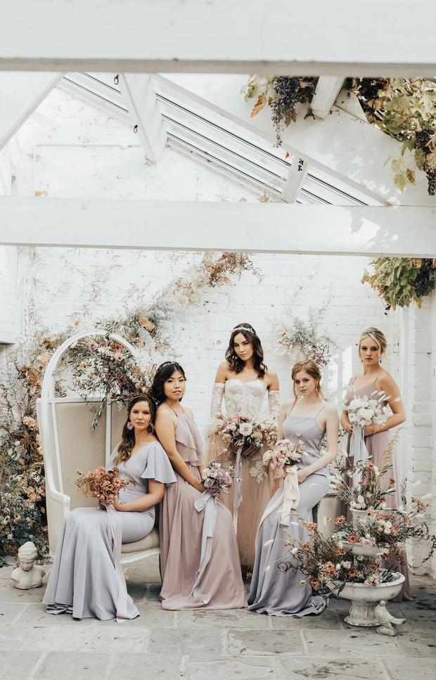 bride and bridesmaids looks
