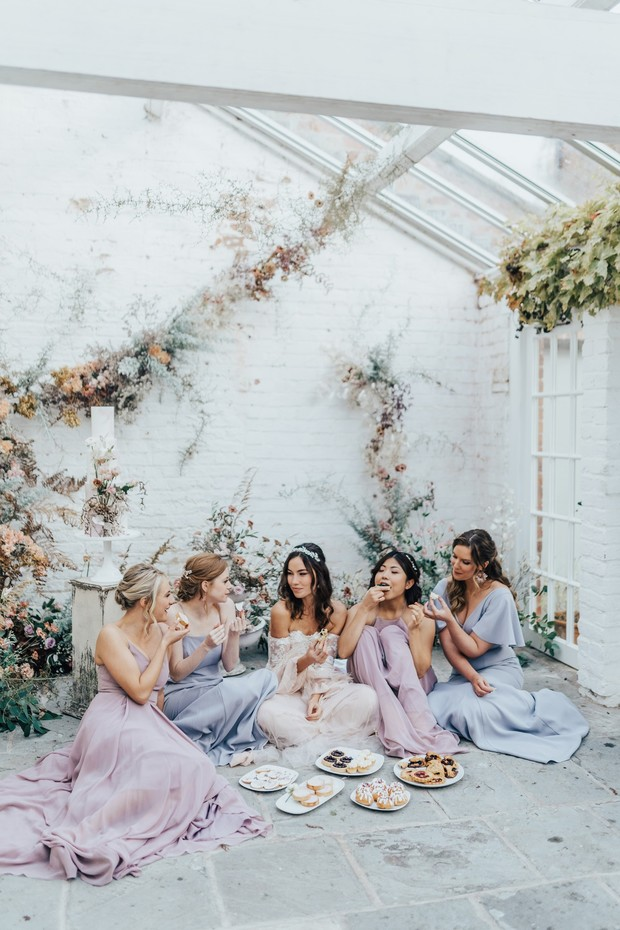 bride and bridesmaids style