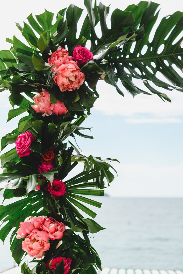 tropical wedding ceremony arbor