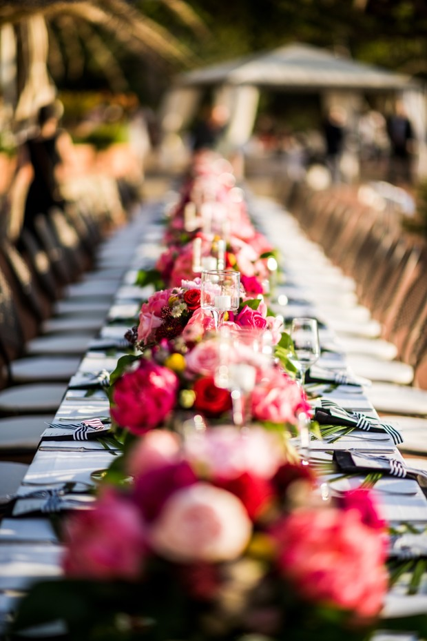 pink floral wedding centerpiece