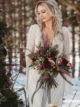 bohemian style wedding dress for the winter