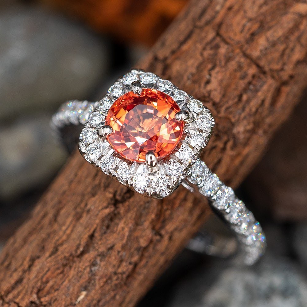 Orange Sapphire & Diamond Halo Engagement Ring. Sku A60303.